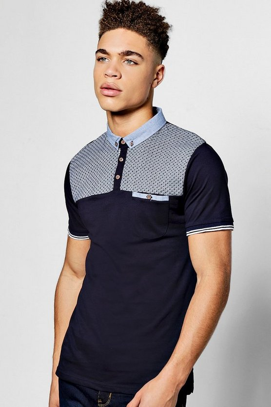Navy Short Sleeve Printed Yoke Polo