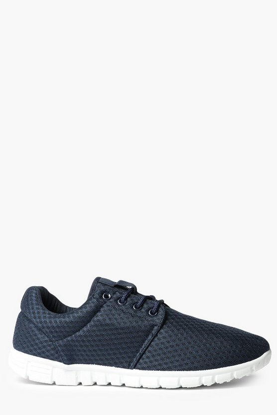 Navy Lace Up Running Trainers
