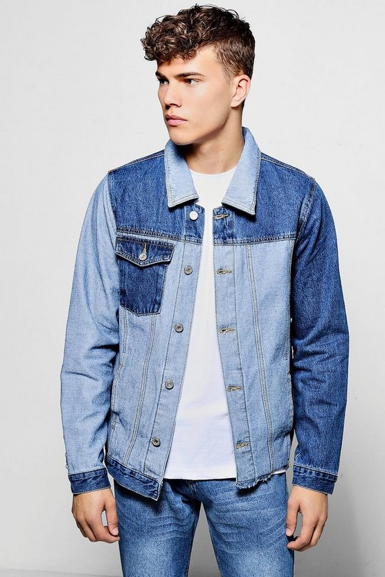 Mid Blue Spliced Multi Denim Jacket