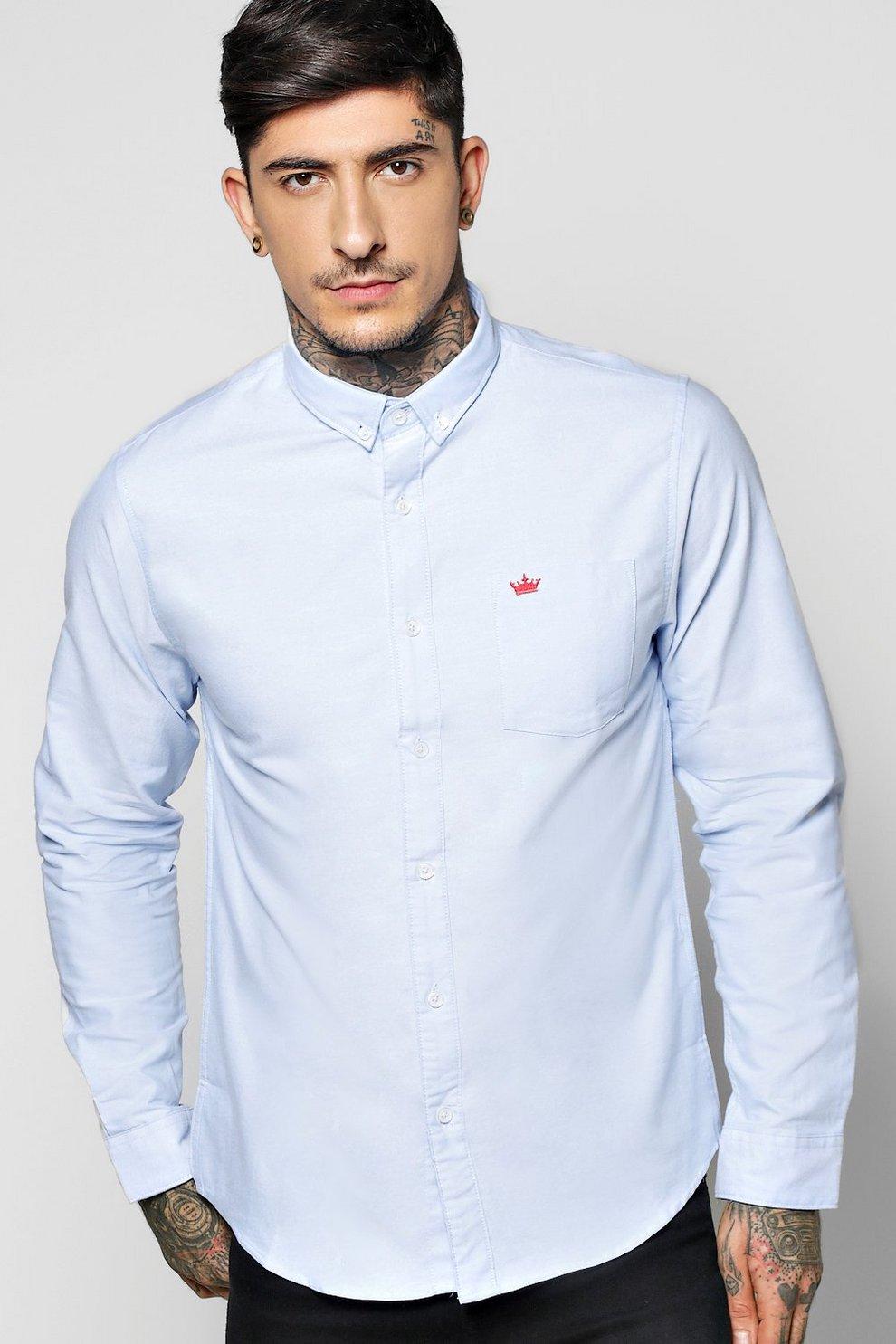 a8b8446f167 Long Sleeve Oxford Shirt   Boohoo