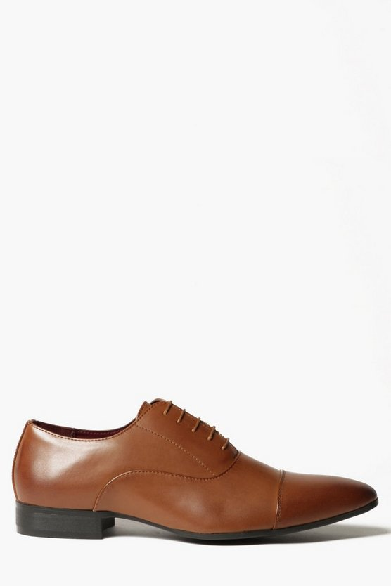 Tan Toe Cap Lace Up Smart Shoe