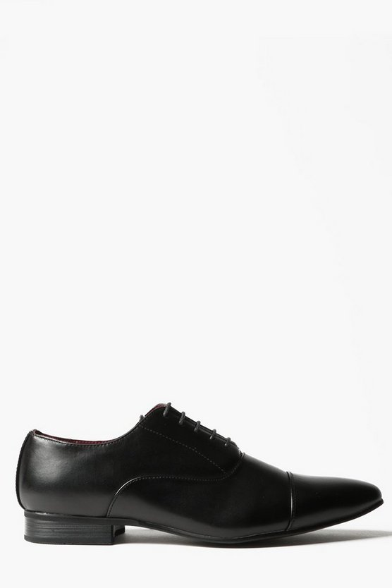 Black Toe Cap Lace Up Smart Shoe