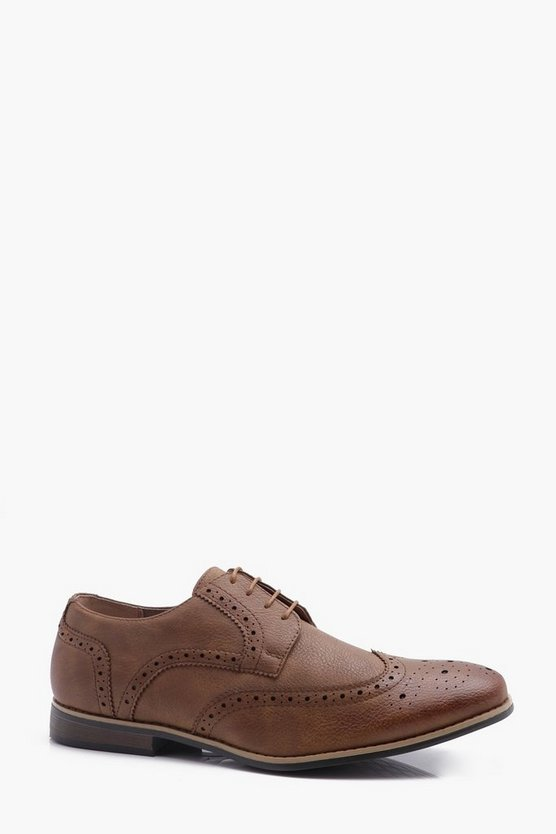 Tan Brogues with Perforated Detailing