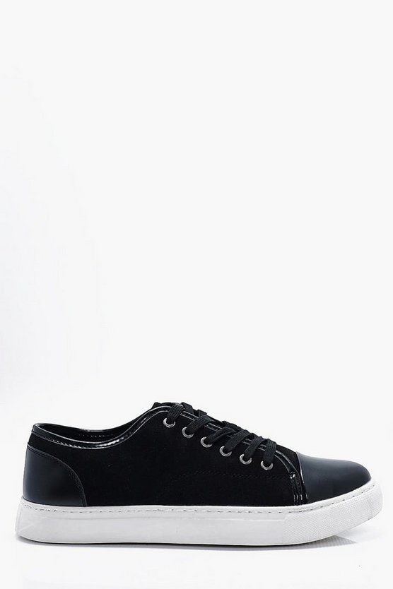 Contrast Toe Cap Lace Up Trainers