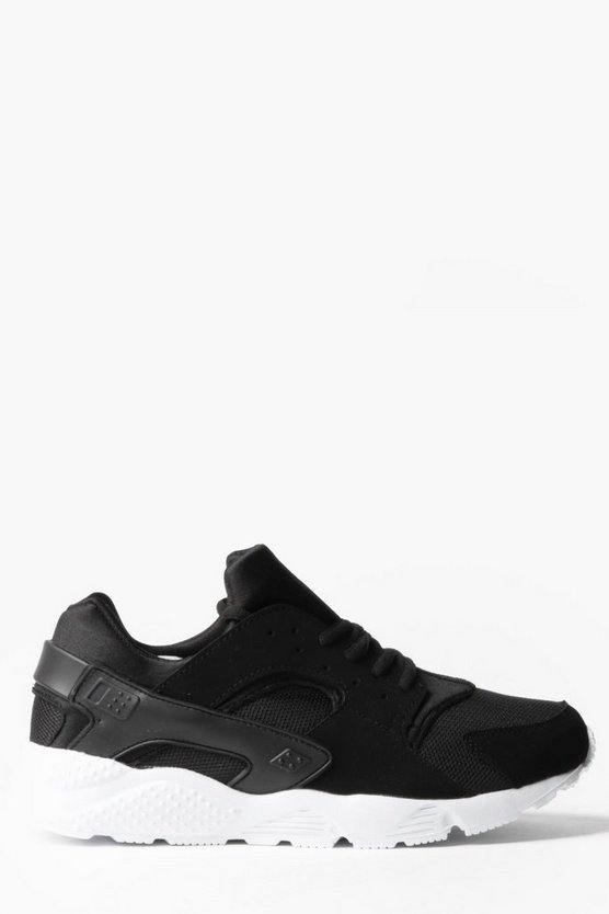 Lace Up Running Trainer with Heel Detail