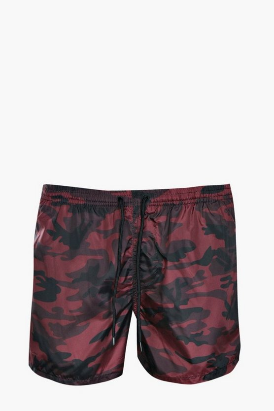 Red Camo Print Swim Shorts