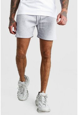 Mens Grey Short Length Jersey Shorts