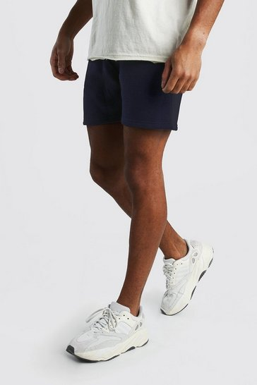 Navy Basic Short Length Jersey Shorts