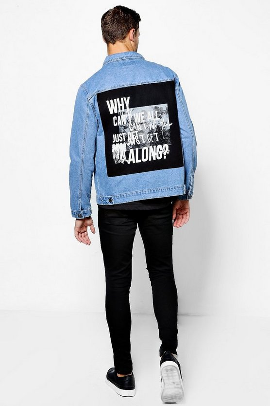 Mid Blue Denim Jacket With Photo Back Print