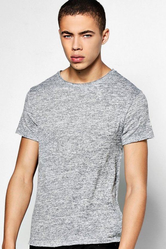 Raw Edge Short Sleeve Knitted T-Shirt