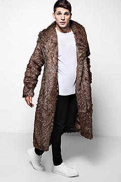 Men's Vintage Style Coats and Jackets Longline Faux Fur Overcoat in Brown $140.00 AT vintagedancer.com