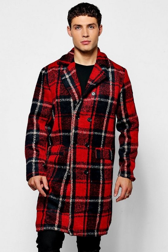 Longline Brushed Check Overcoat