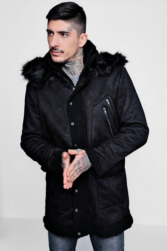 Luxe Black Suedette Parka With Faux Fur