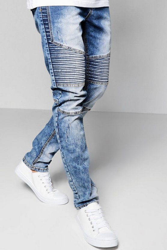 Mid Blue Skinny Fit Washed Denim Biker Jeans