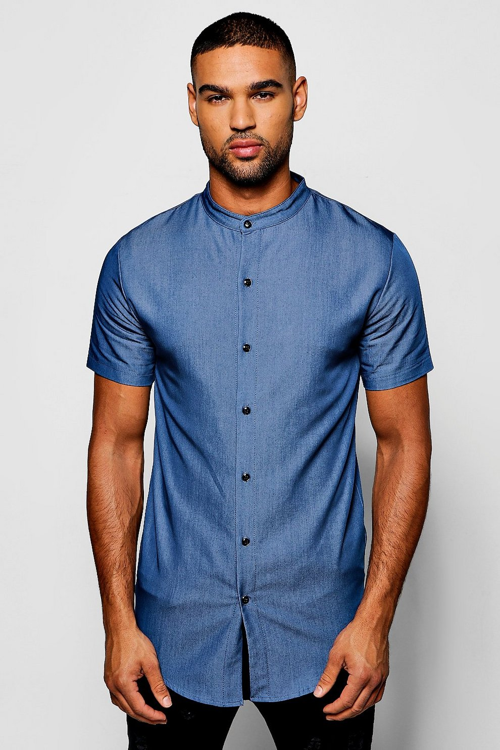 e818806c83b6 Short Sleeve Denim Chambray Shirt with Grandad Collar | Boohoo