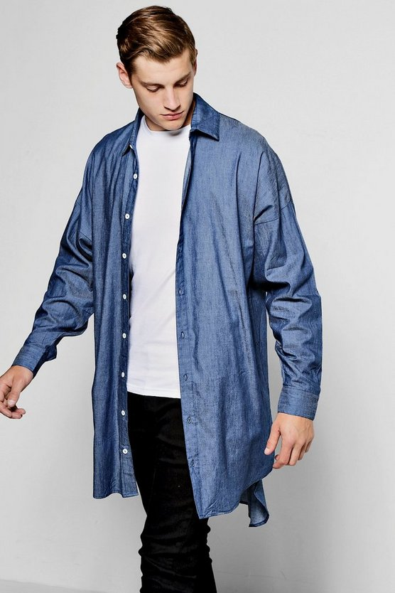 Mid Blue Extreme Longline Denim Chambray Shirt