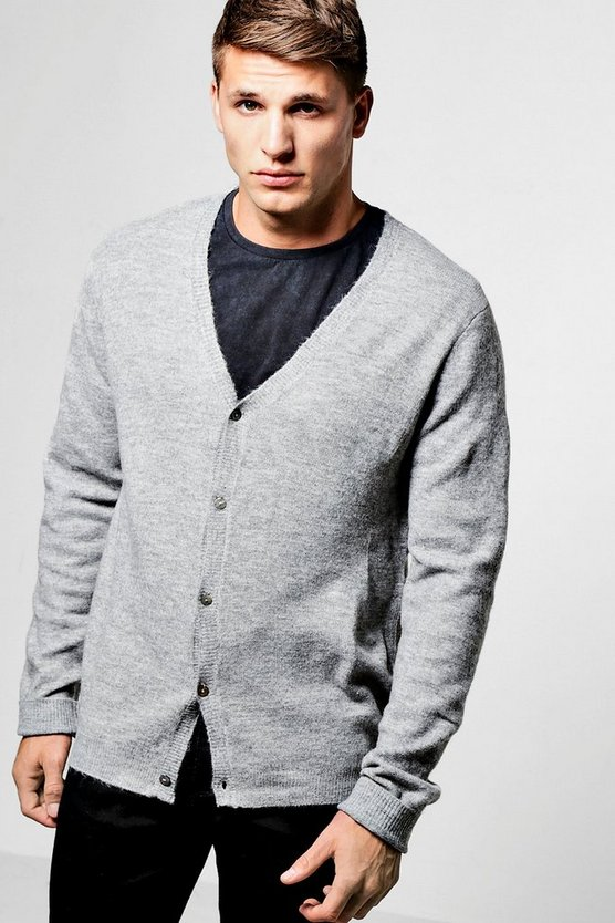 Grey Button Through Boucle Knit Cardigan