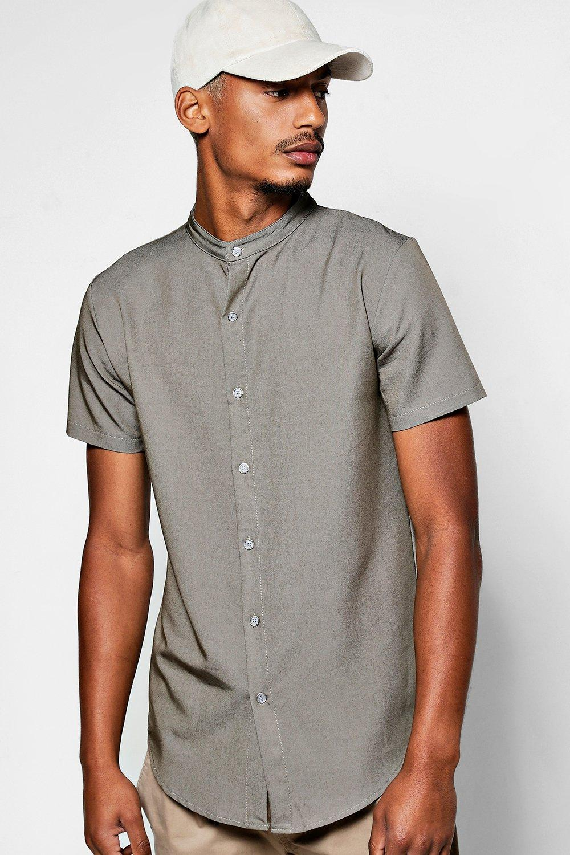 a52c99c4b99800 Mens Khaki Short Sleeve Denim Chambray Shirt with Grandad Collar. Hover to  zoom. Close video