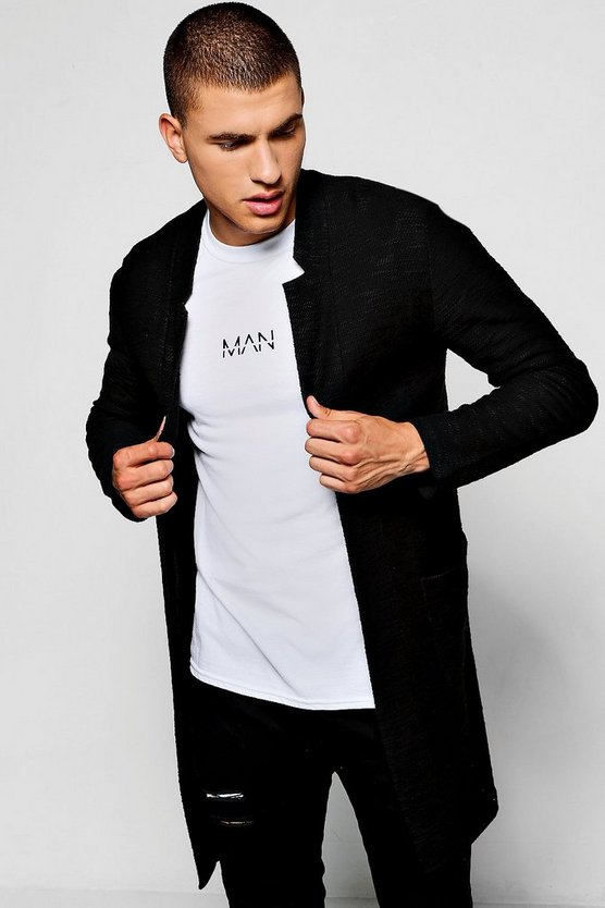 Black Longline Notch Neck Knitted Cardigan