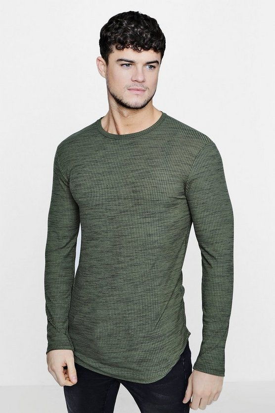 Long Sleeve Space Dye Rib Knit Jumper