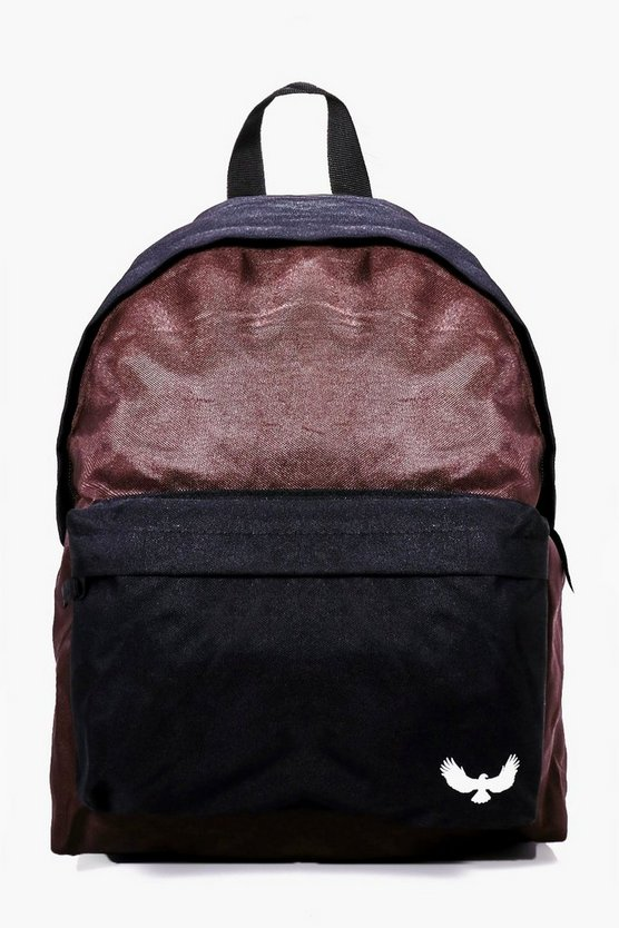 Burgundy Contrast Panel Canvas Backpack