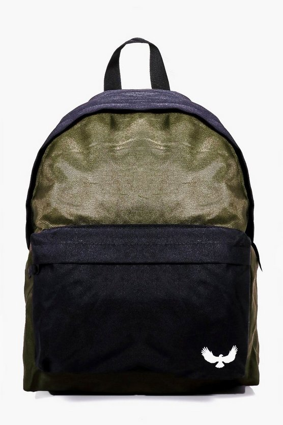 Khaki Contrast Panel Canvas Backpack