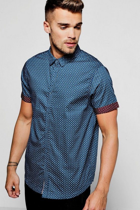 Navy Short Sleeve Ditsy Print Shirt