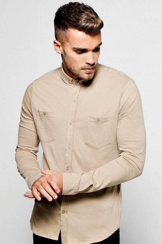 Mushroom Long Sleeve Chest Pocket Jersey Shirt