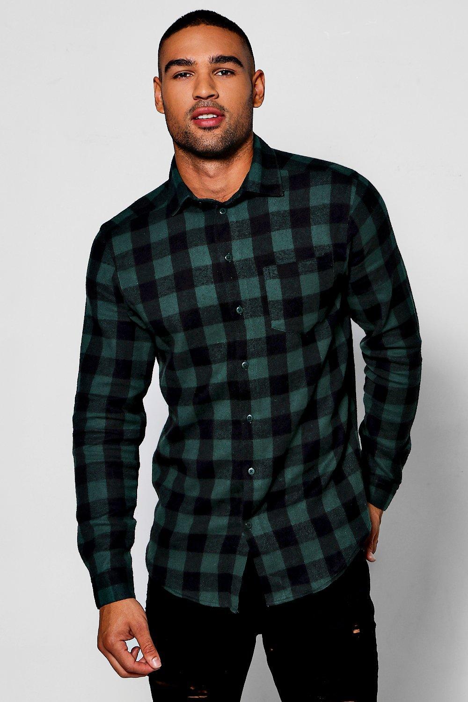 e98f40b28 Camisa verde de cuadros búfalo con manga larga   Boohoo