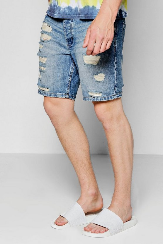 Mid Blue Skinny Fit Ripped Denim Shorts