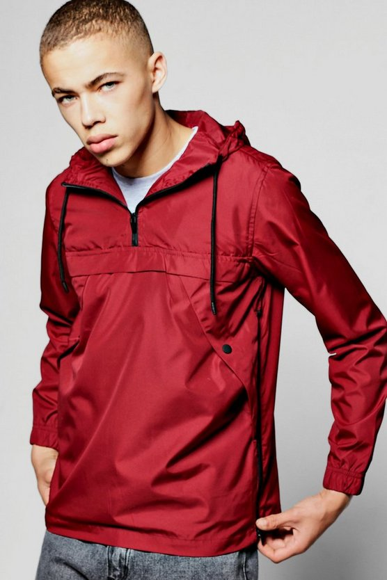 Red Over The Head Hooded Cagoule