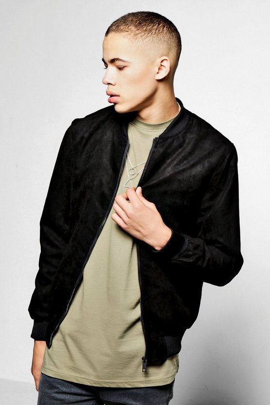 Black Faux Suede Zip Through Bomber Jacket