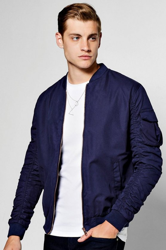 Navy Zip Through Cotton Bomber With Ruched Sleeves