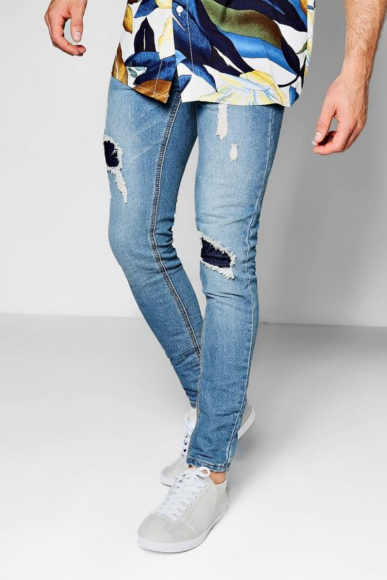 Blue Denim Skinny Fit Jeans With Patchwork Knees