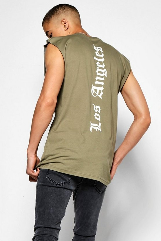 Mens Khaki 'LA' Longline Sleeveless T-Shirt
