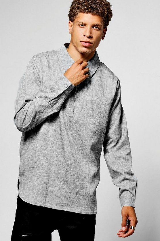 Plain Zip Placket Shirt With Curved Hem