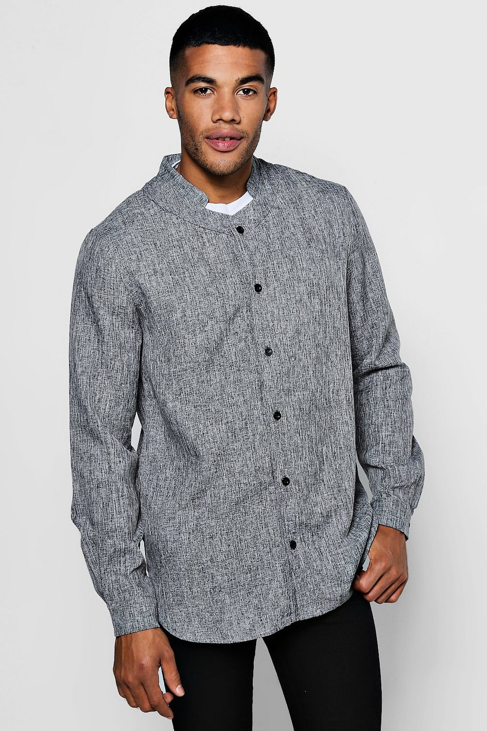 c120790c40e317 Mens Black Textured Longline Mandarin Collar Shirt With Curved Hem