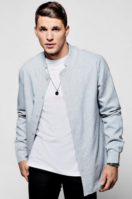Textured Longline Mandarin Collar Shirt With Curved Hem