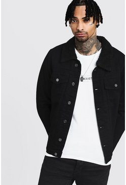 Mens Fully Borg Lined Black Denim Jacket