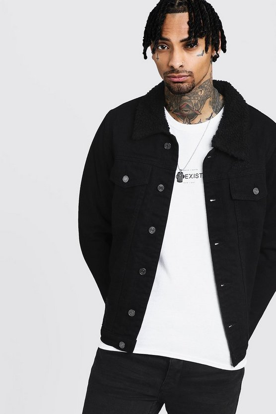Fully Borg Lined Black Denim Jacket