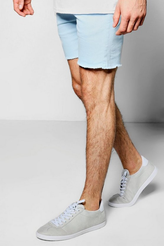 Blue Pastel Skinny Fit Chino Shorts