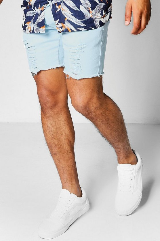 Distressed Skinny Fit Stretch Shorts