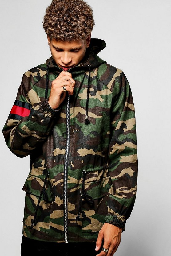Hooded Camo Parka W/ Contrast Red Panel