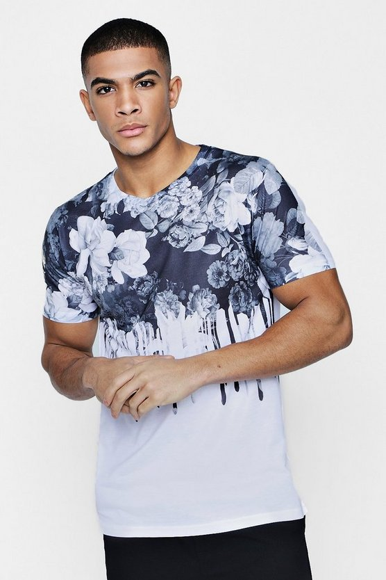 White Floral Drip Sublimation T-Shirt