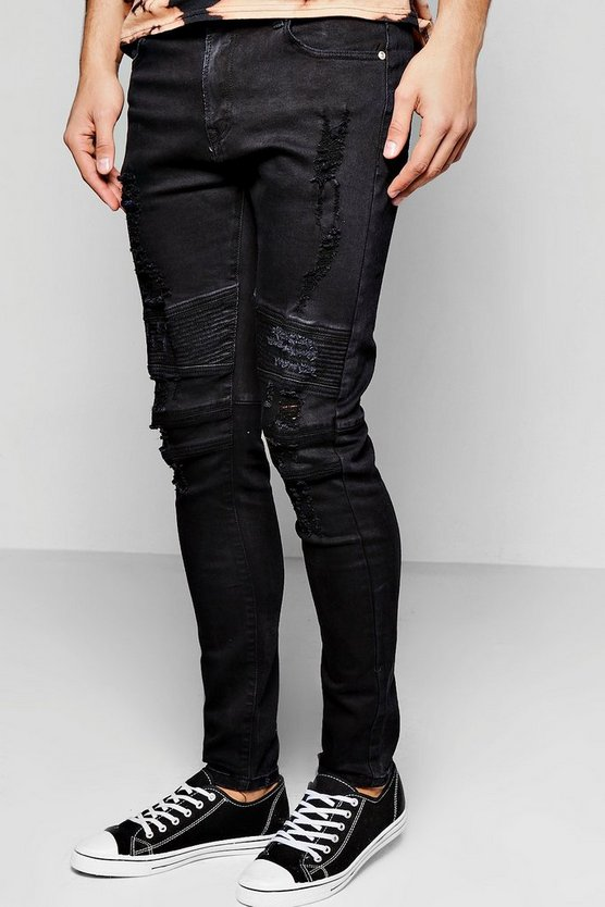 Black Denim Biker Jeans With Distressing In Skinny Fit