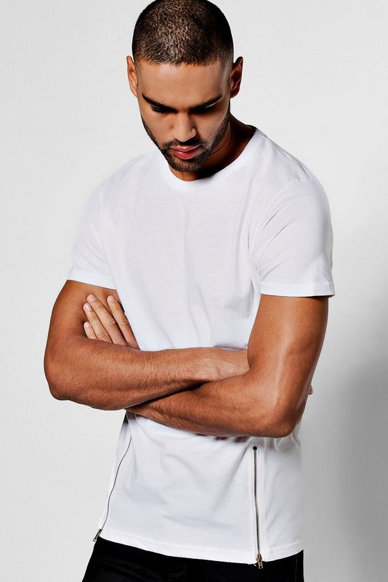 Longline T-Shirt with Zips