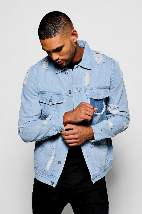 Pale Blue Heavily Distressed Denim Jacket