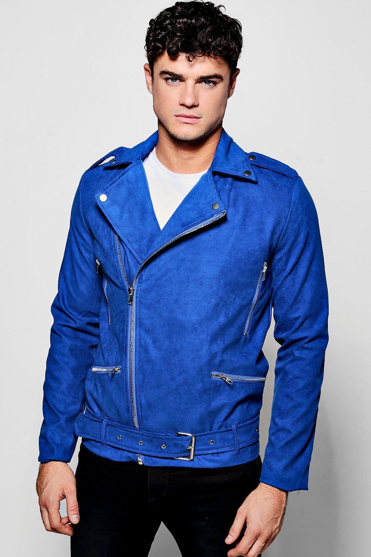 11446c56e5f16 cazadora biker azul cobalto de ante sintético