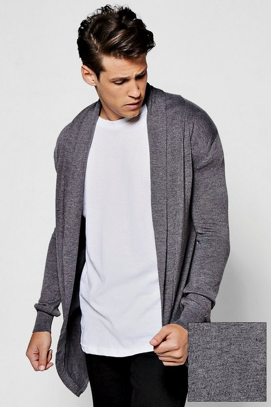 Plain Grey Longline Fine Gauge Knitted Cardigan