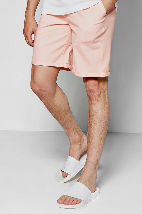 Pink Wide Leg Chino Shorts